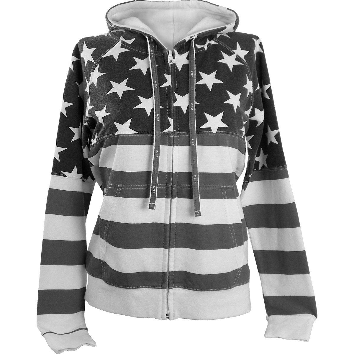 Women's Proud American Flag Sweatshirt 4009 Grey XL