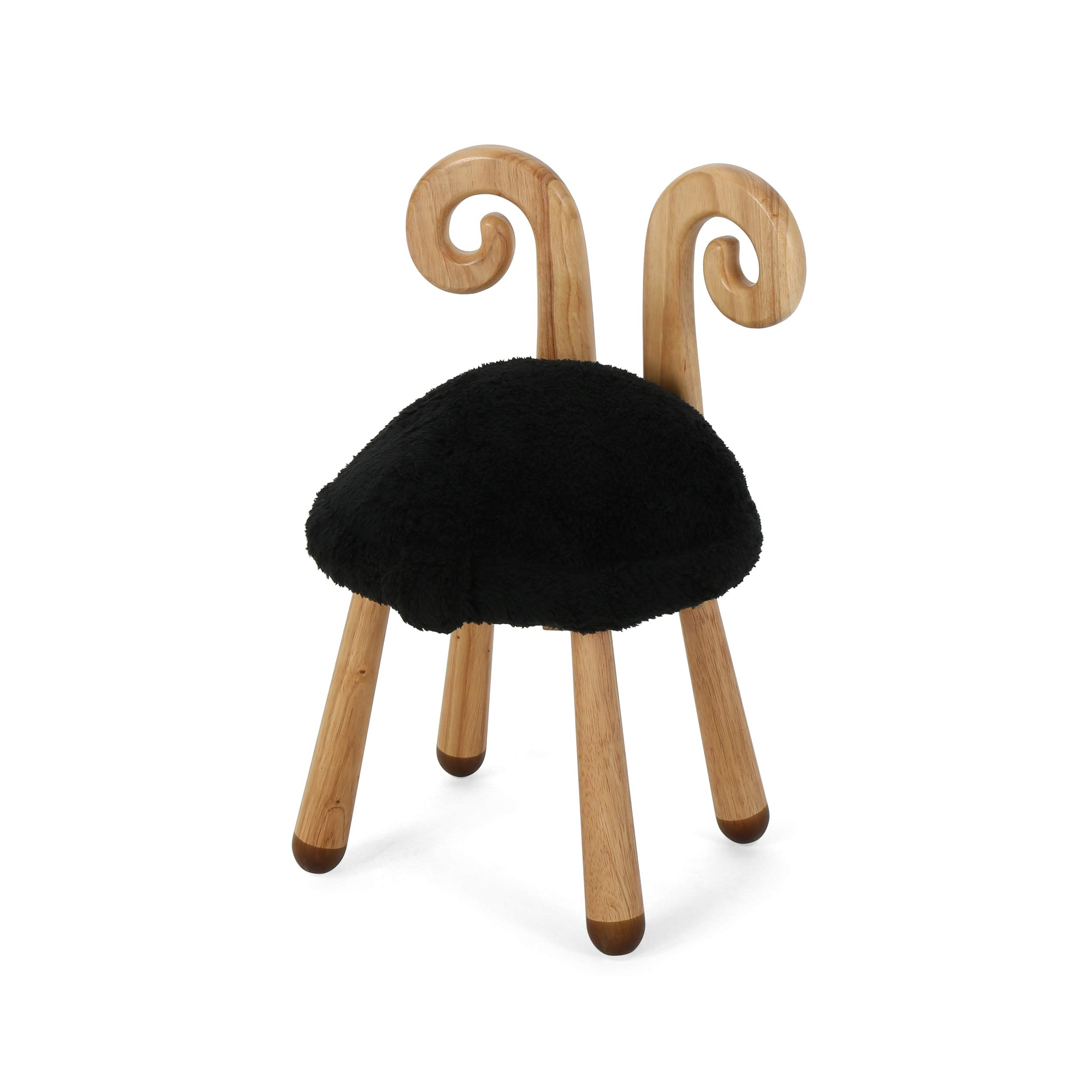 Stoolimals Collection, Faux Fur Sheep Stool, Black by Keiki