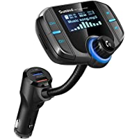 (Upgraded Version) Sumind Car Bluetooth FM Transmitter, Wireless Radio Adapter Hands-Free Kit with 1.7 Inch Display, QC3.0 and Smart 2.4A USB Ports, AUX Input/Output, TF Card Mp3 Player(Black)