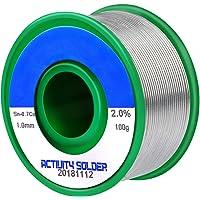 Fixget 1mm fil à souder sans plomb, Sn 97.3% Ag 2% Cu 0.7% avec Noyau de Colophanepour pour de soudure, 100g (sans plomb)