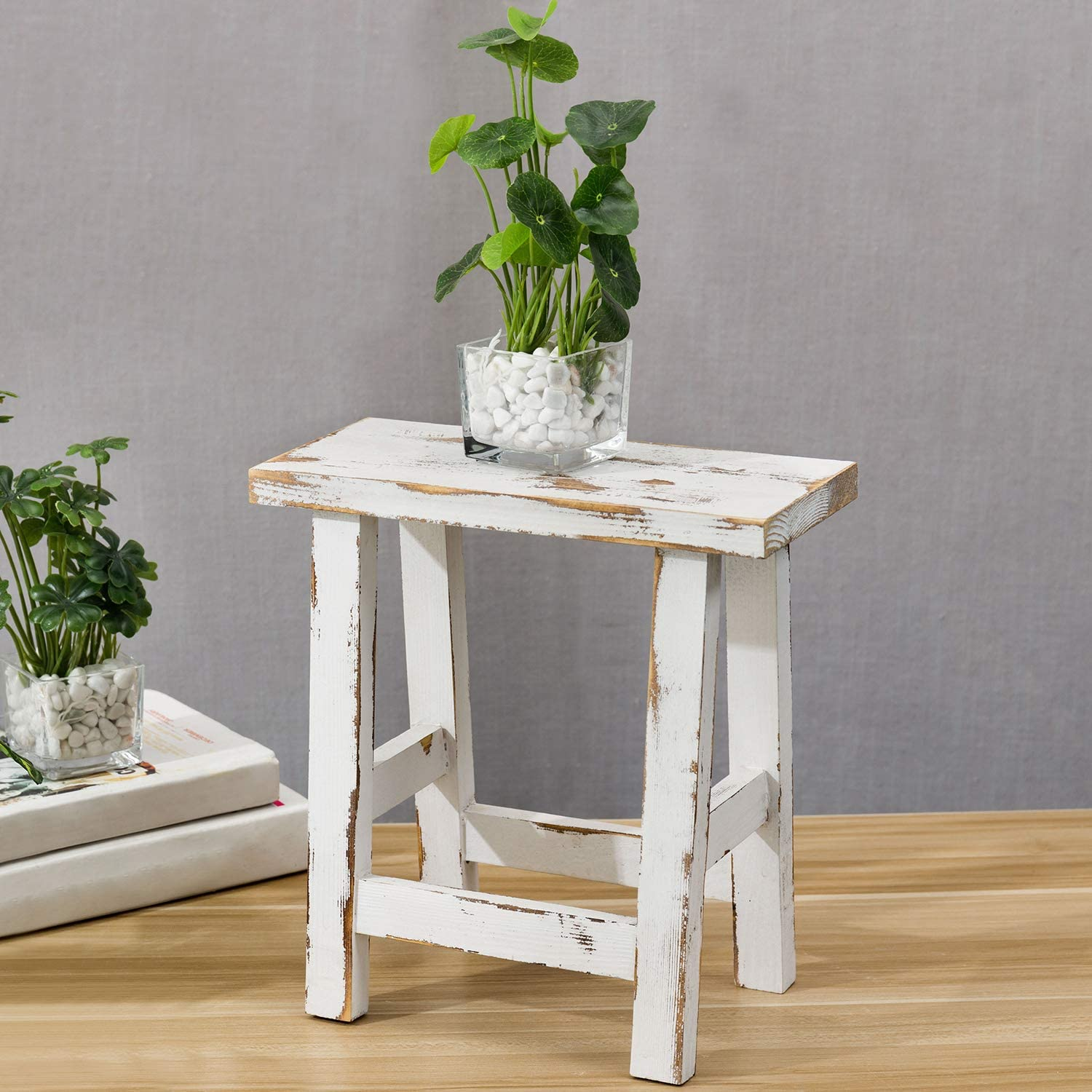MyGift Decorative Whitewashed Solid Wood Accent Table/Mini Stool Display Stand
