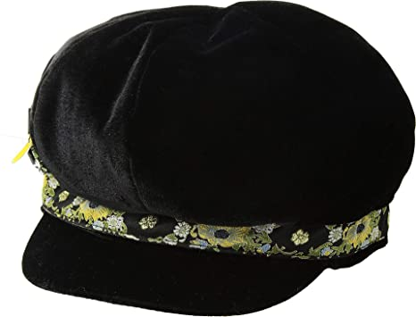7d3276cfd8dd2 San Diego Hat Company Women s CTH8110 Velvet Baker Boy with Jacquard Trim  and Bejeweled Insect Black