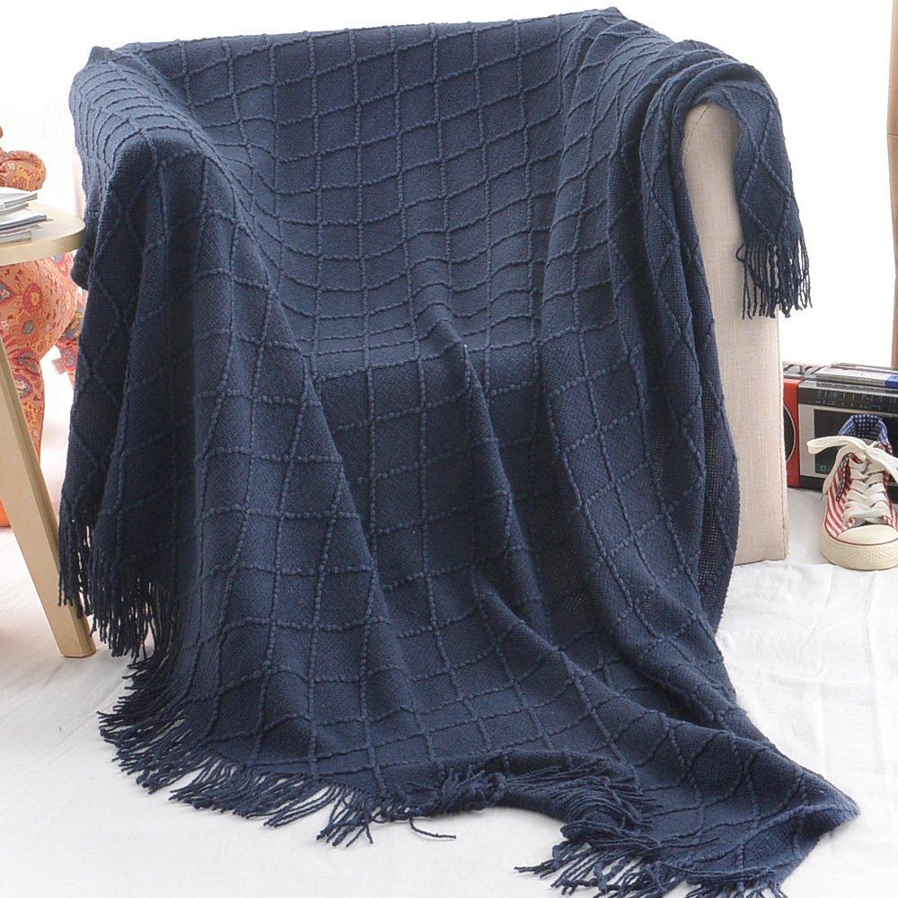 Battilo Knit Diamond Pattern Decorative Throw Blanket White, 50 x 60