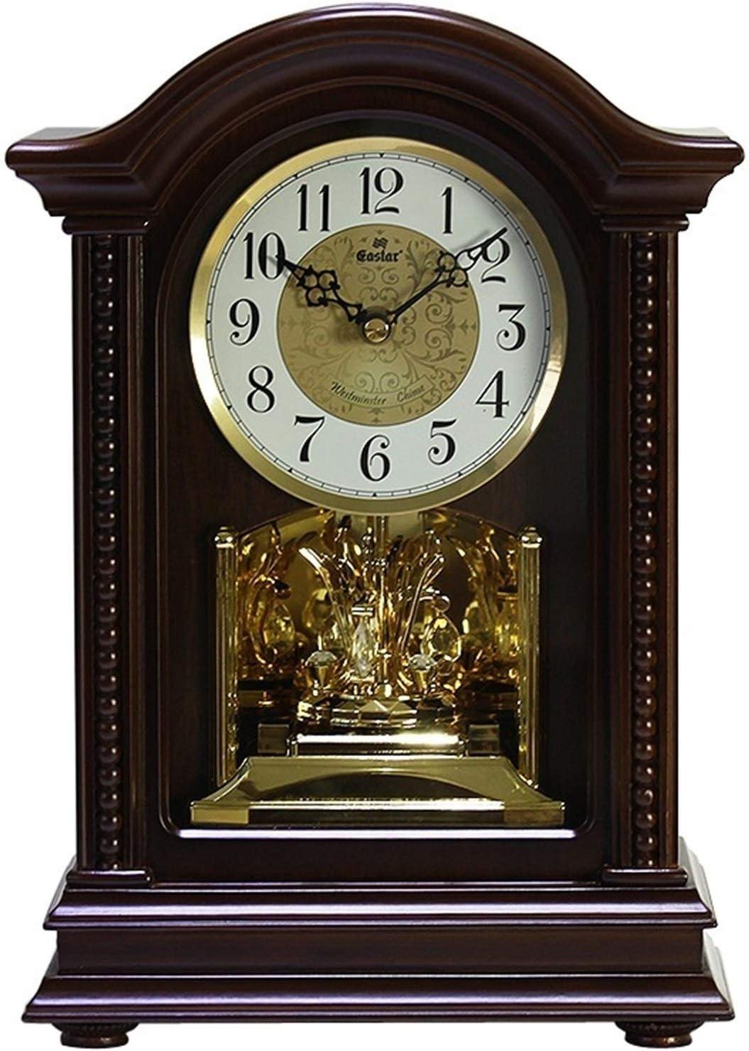 Vioaplem Estilo Europeo de música de Madera Reloj Antiguo por Hora de Reloj de Cuarzo Escritorio Sala de Estar Decoración Reloj de la Chimenea Relojes de Chimenea