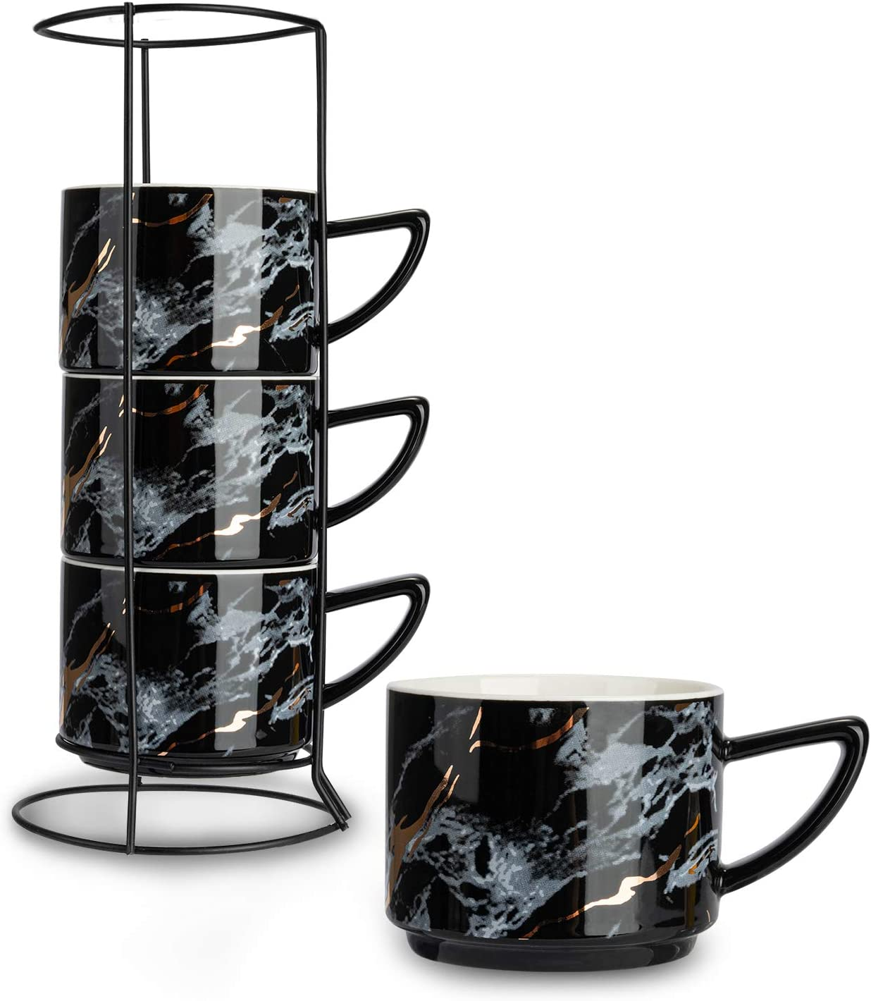 SOPRETY 4pcs Ceramic Marbling Cups Stackable Coffee Mugs 6.8oz, Porcelain Tea Cups with Stainless Steel Stand for Home Office, Black