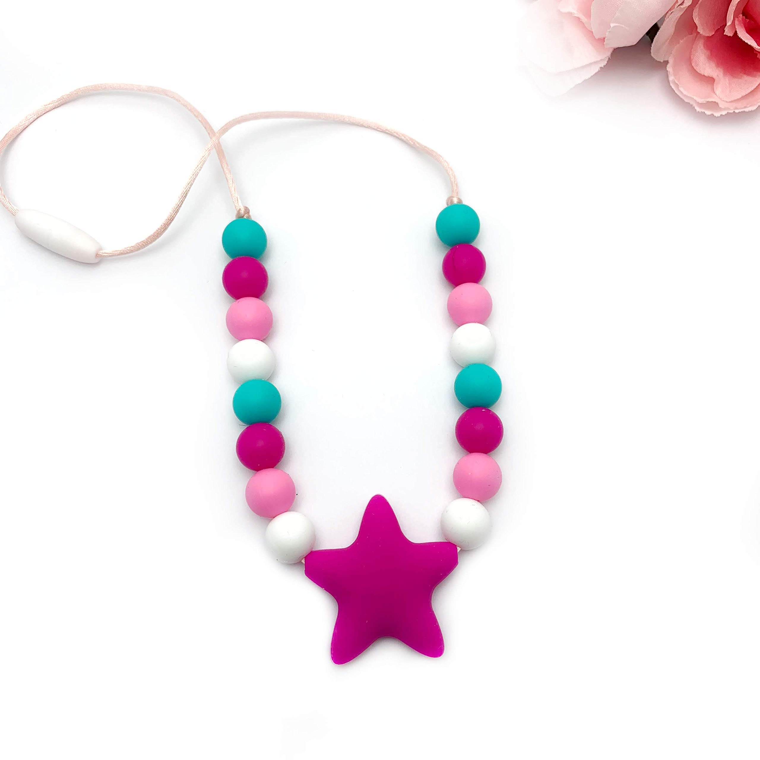 Chewy Necklace for Kids with Sensory Disorder, Autism and ADHD - Toddler Teething Necklace - Sensory Silicone Jewelry by Gummy Chic