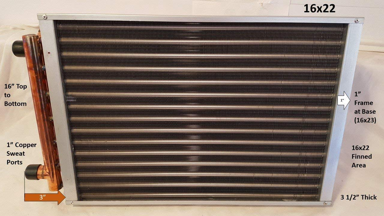 16x22 Water to Air Heat Exchanger~1'' Copper Ports