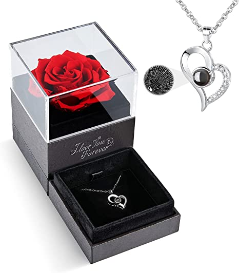 Wife Preserved Real Rose With Love You Necklace 100 Languages Gift For Mom GF