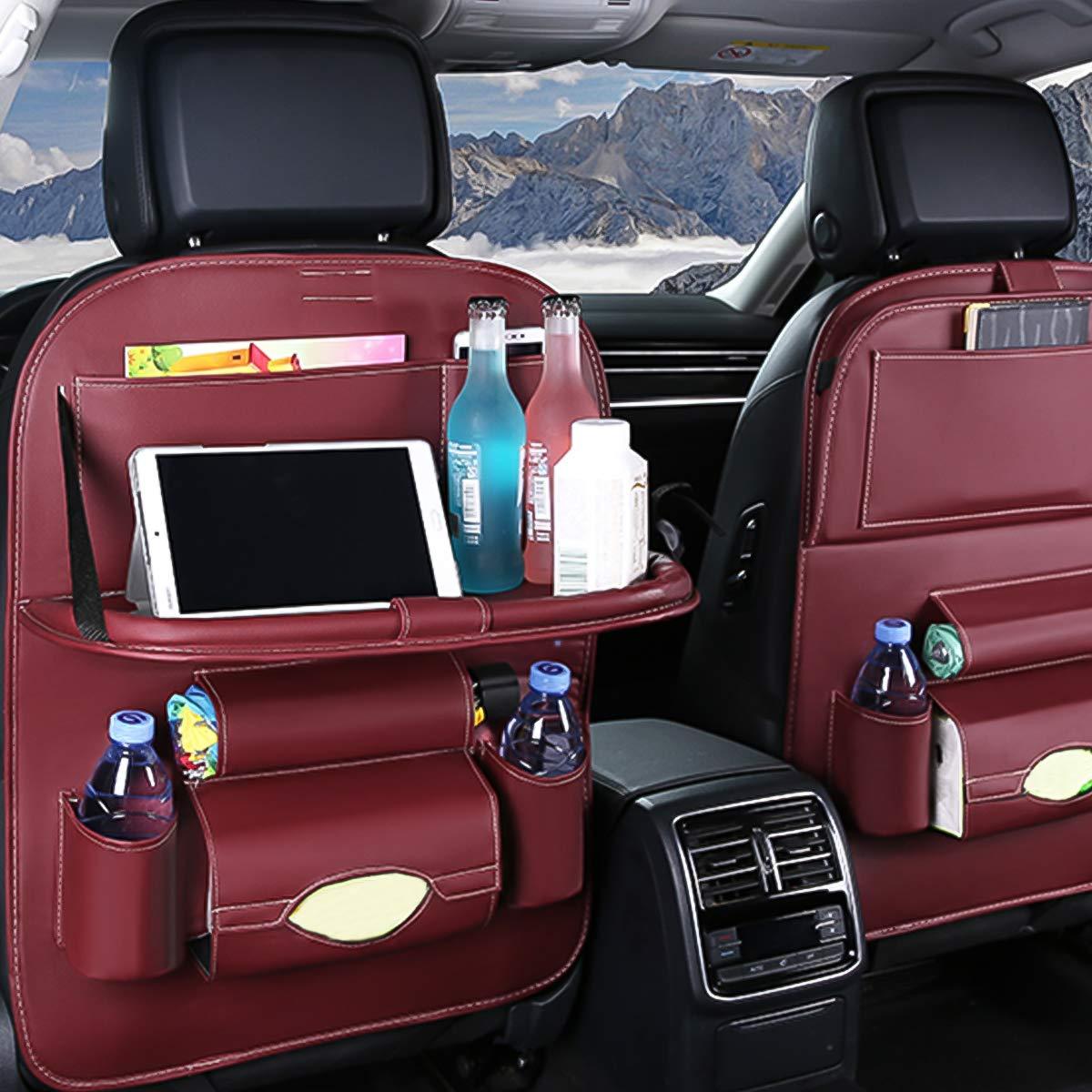 Ergocar Auto Organizer R/ückenlehnenschutz Luxus Autositzschutz aus PU-Leder mit faltbarem Tablethalter wasserdicht R/ückenlehnenschutz R/ückenlehnen-Tasche f/ür Kinder Beige - 2 Pack