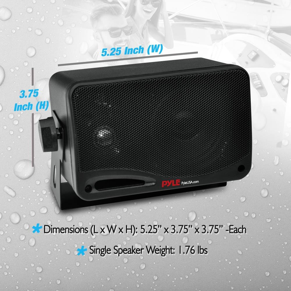 Outdoor Waterproof Wireless Bluetooth Speaker - 3.5 Inch Pair 3-way Active Passive Weatherproof Wall, Ceiling Mount Dual Speakers System w/Heavy Duty Grill, Patio, Indoor Use - Pyle PDWR42BBT (Black) by Pyle (Image #6)