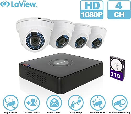 LaView 1080P 4 HD Security Camera System – 4CH Security System DVR with 1TB HDD 2MP Turret Cam Surveillance Kit