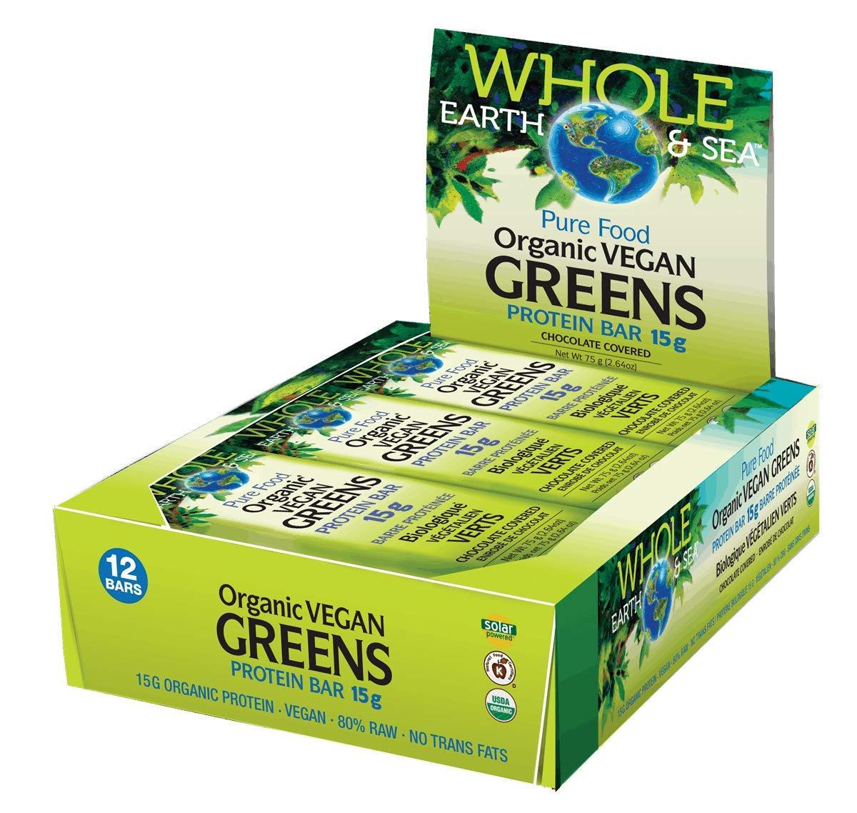 Organic Vegan Greens Protein Bar Chocolate Covered (12 Bars)