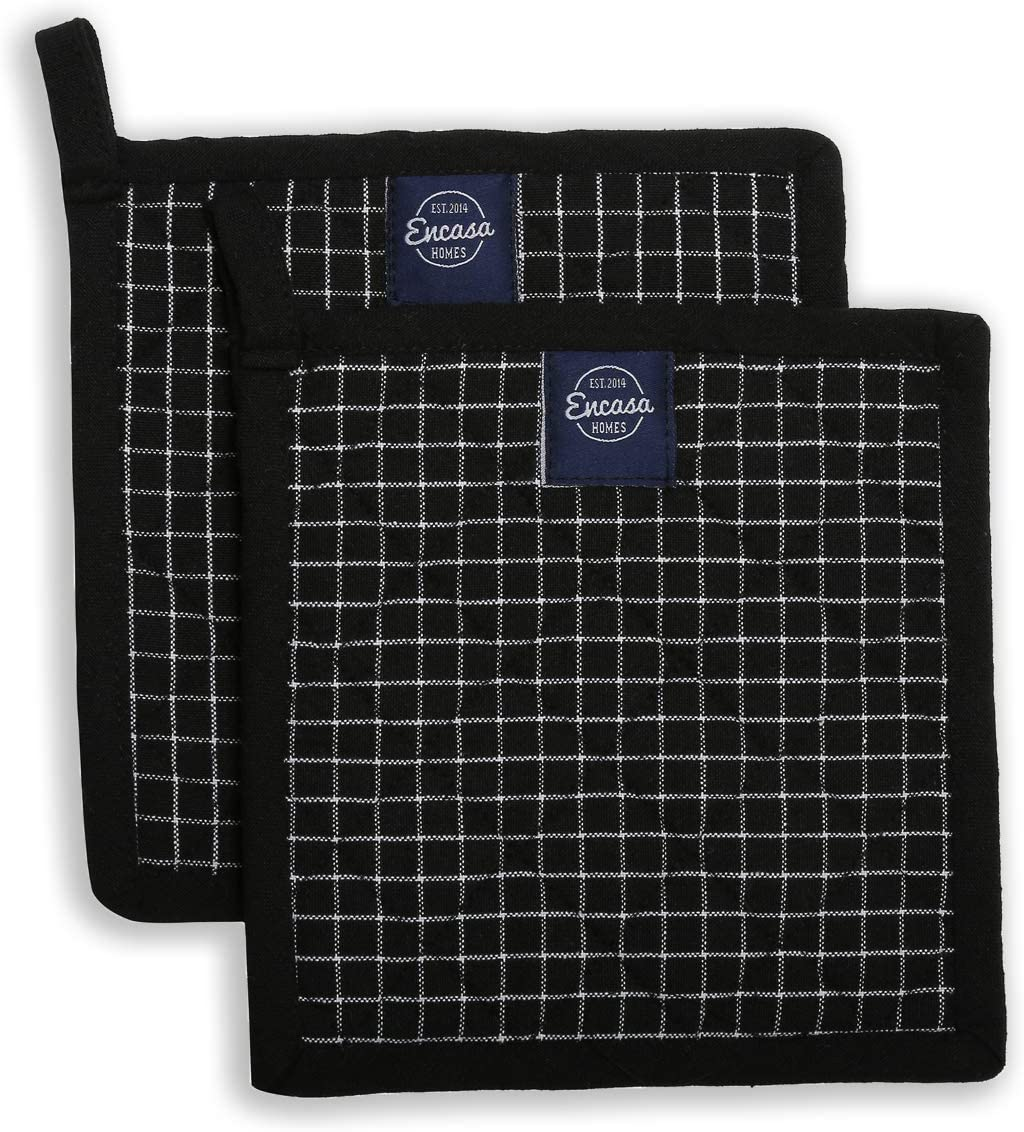 Encasa Homes 8 inches Oven Microwave Potholders (2 pc Set) for Kitchen Cooking & Baking - Heat Resistant, Thick & Safe, Protection of Hands from Hot Utensils, Grill, Barbecue - Black Checks
