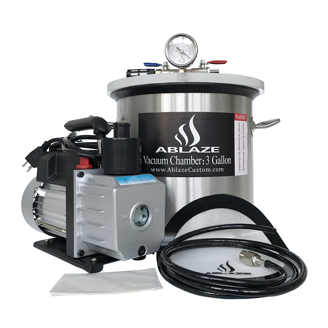 ABLAZE 3 Gallon Stainless Steel Vacuum Degassing Chamber and 3 CFM Single Stage Pump Kit by Ablaze (Image #2)