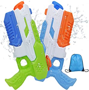 Juome 2 Pack Squirt Guns Water Guns for Kids Adults Water Blaster 600cc High Capacity&30-35 Feet Shooting Range Fast Trigger Summer Toy for Swimming Pool Party Outdoor Beach Water Fighting