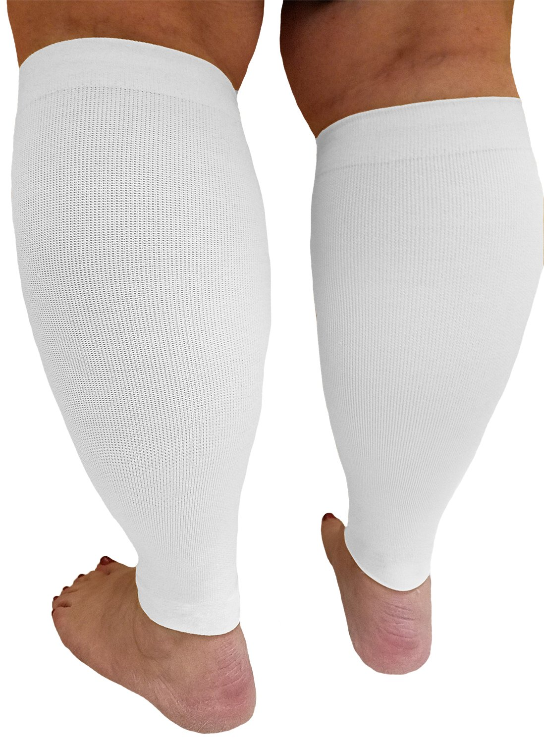 Compression Calf Sleeves Extra Wide - Soothing Gradient Support. XX-Wide Legs, Compression 18-20mmHg at Ankle and 14-16mmHg at Calves, Comfortable Tall Cuffs. Maximum stretch to 27 in. Unisex, white