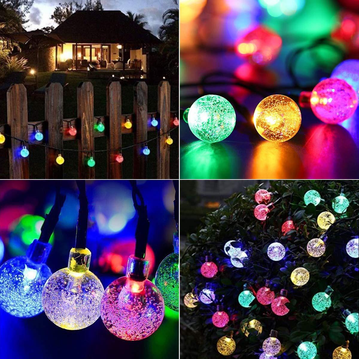 Patio Multicolore Mariage No/ël Guirlande Lumineuse Solaire FOCHEA 7M IP65 Guirlande Lumineuse Exterieur avec 8 Modes et 50 Boules Cristal LED pour Jardin Cl/ôture Terrasse