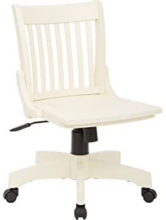 office star deluxe armless wood bankers desk chair with wood seat antique white
