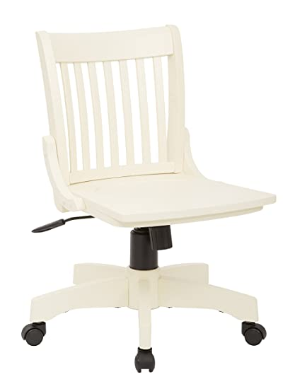 Office Star Deluxe Armless Wood Bankers Desk Chair with Wood Seat, Antique  White - Amazon.com: Office Star Deluxe Armless Wood Bankers Desk Chair With