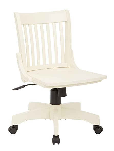 Office Star Deluxe Armless Wood Bankers Desk Chair with Wood Seat, Antique  White - Amazon.com: Office Star Deluxe Armless Wood Bankers Desk Chair