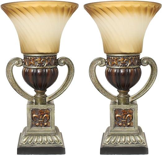 "Set of 2 Urban Designs Parisian Torchiere 22/"" Uplight Table Lamp"
