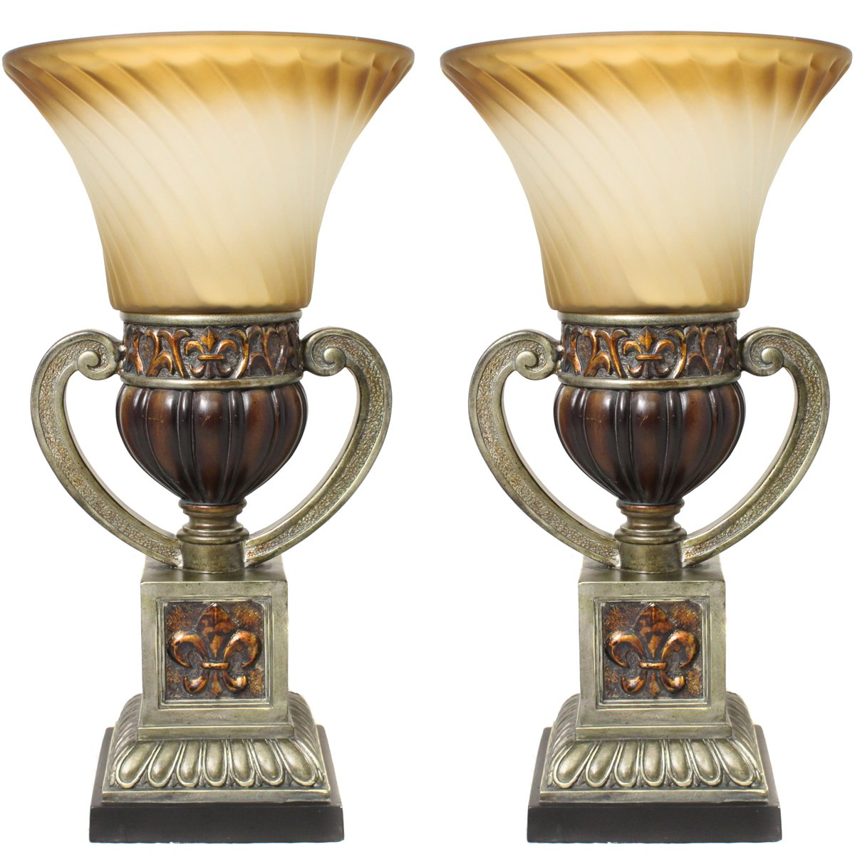 Urban Designs Imported Parisian Torchiere 22'' Uplight Table Lamp - Set of 2, Brown by Urban Designs