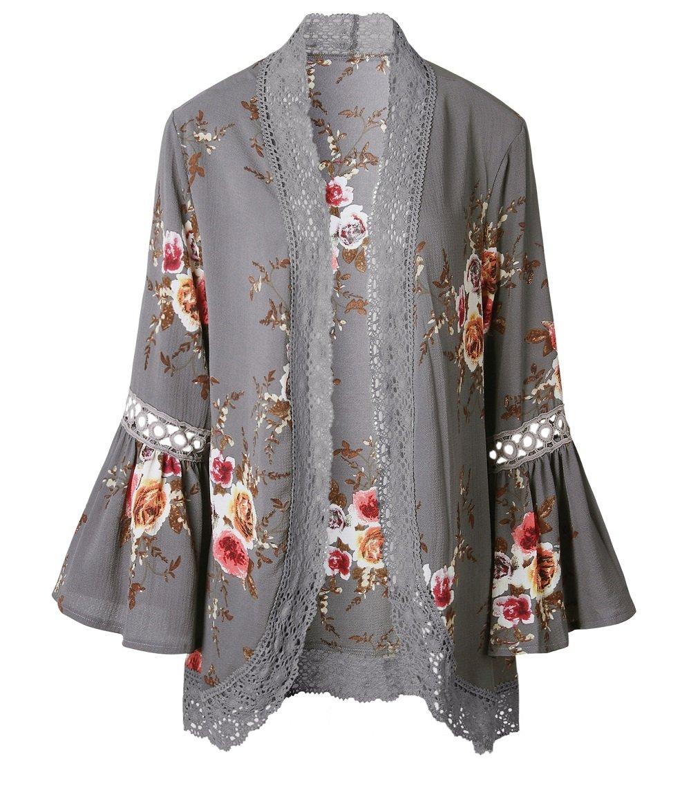 Chunoy Women Loose Splice Boho Fringe Flare Sleeve Solid Hollow Out Kimono Cover up Grey Large by Chunoy (Image #4)
