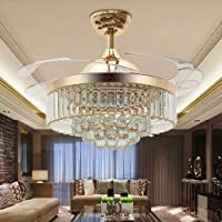 """42"""" Reversible Ceiling Fans Chandeliers Modern Retractable Ceiling Fan with LED Light and Remote, Invisible Crystal…"""