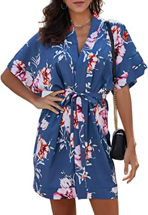 QUEENIE VISCONTI Womens African Print Dresses Summer Gold Button Down 3/4 Sleeves Casual Shirt Dress Blouses