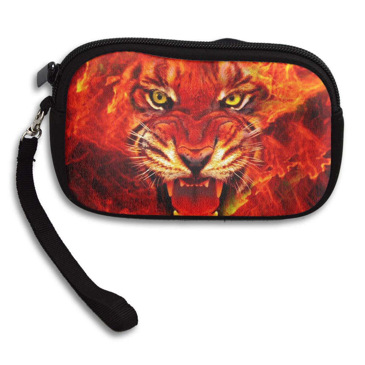 Fire King Tiger Face Coin Pouch Clutch Purse Wristlet Wallet Phone Card Holder Handbag