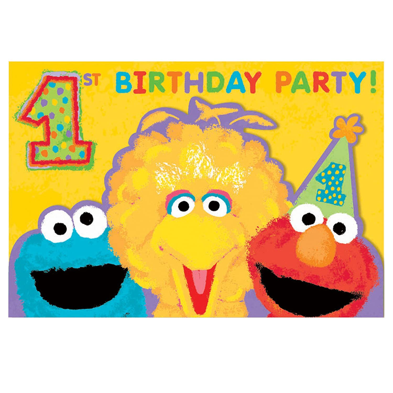 Amazon Sesame Street 1st Birthday Invitations w Envelopes
