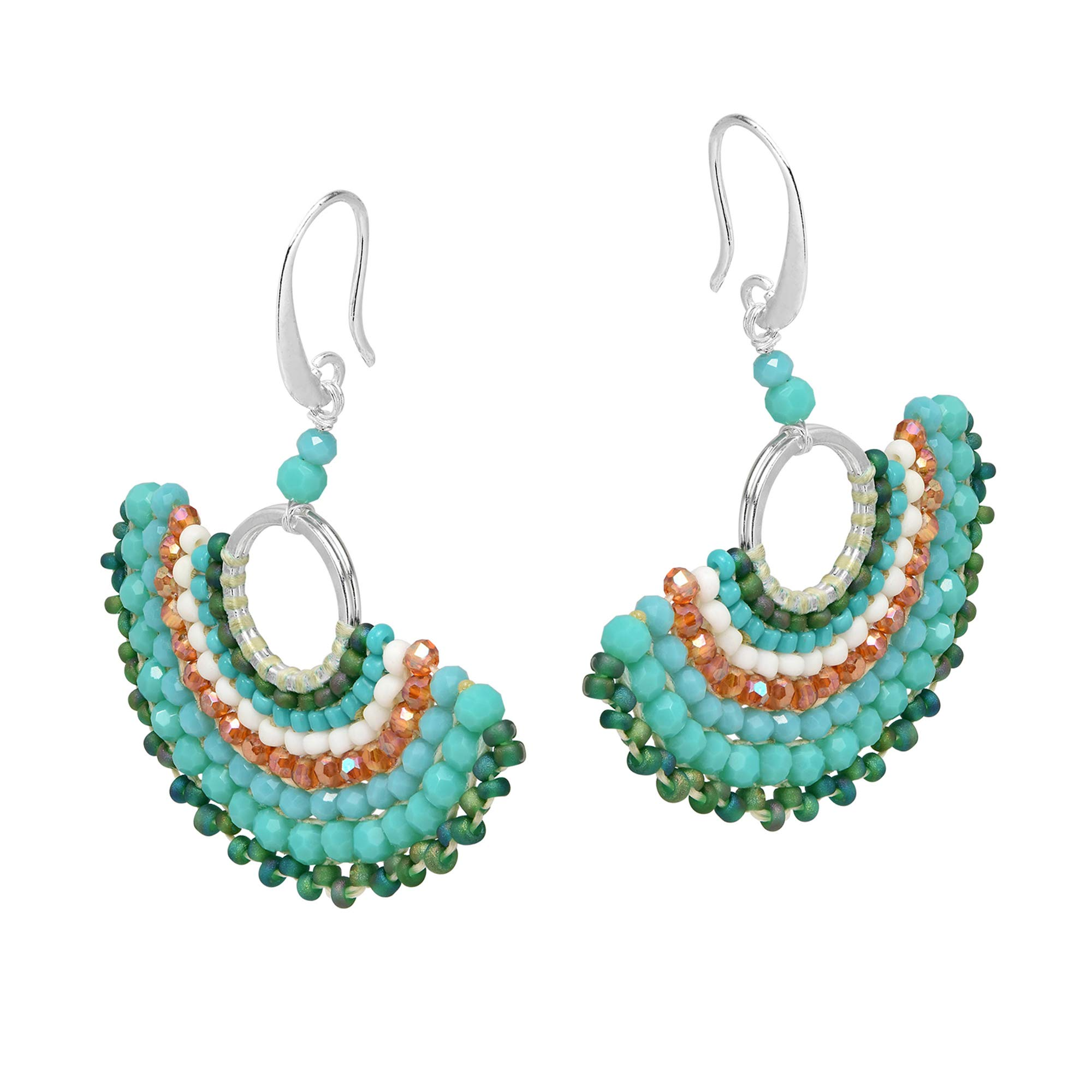 Chic Simulated Turquoise & Fashion Crystal & Fashion Bead Fan .925 Sterling Silver Dangle Earrings by AeraVida (Image #2)