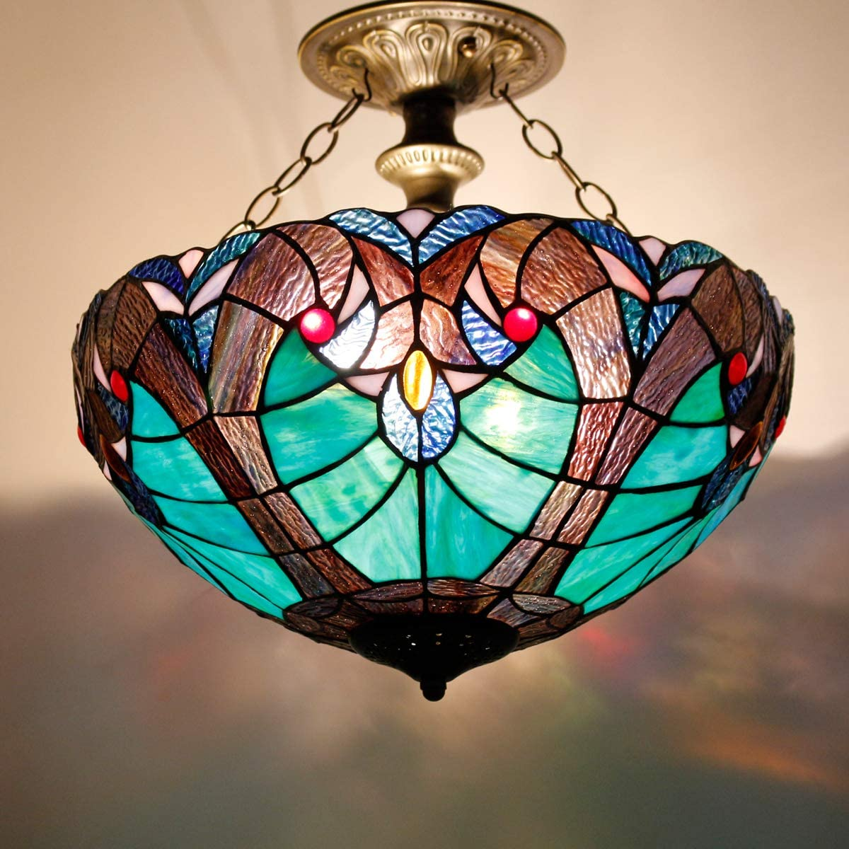 Tiffany Ceiling Fixture Lamp Semi Flush Mount 16 Inch Green Liaison Stained Glass Lampshade Pendant Hanging 2 Light Fixture for Dinner Room Living Room Bedroom S160G WERFACTORY