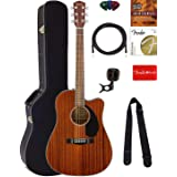 Fender CD-60SCE Dreadnought Acoustic-Electric Guitar - All Mahogany Bundle with Hard Case