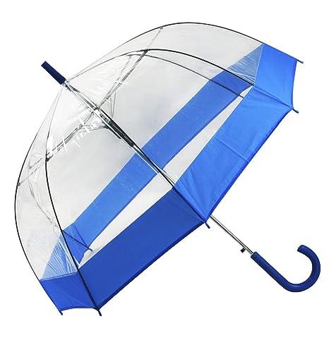 Paraguas transparente cúpula, azul