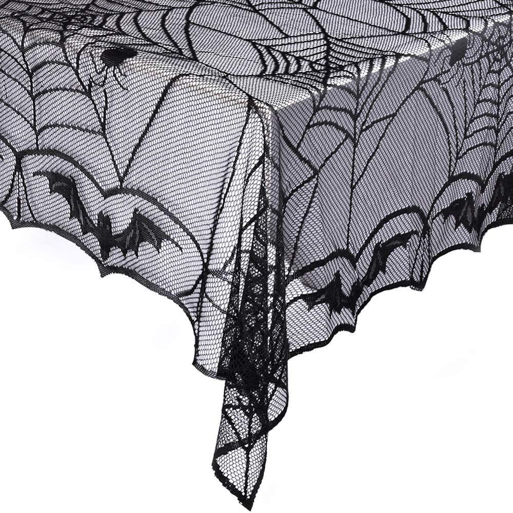 eZAKKA Halloween Tablecloth Lace Rectangular Black Spider Web 48 x 96 inch Polyester Spooky Bat Lace Tablecover for Gothic Halloween Party Home Decorations