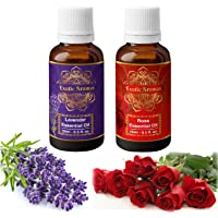 Exotic Aromas lavender & rose essential oil, Pure and Organic- Pack of 2