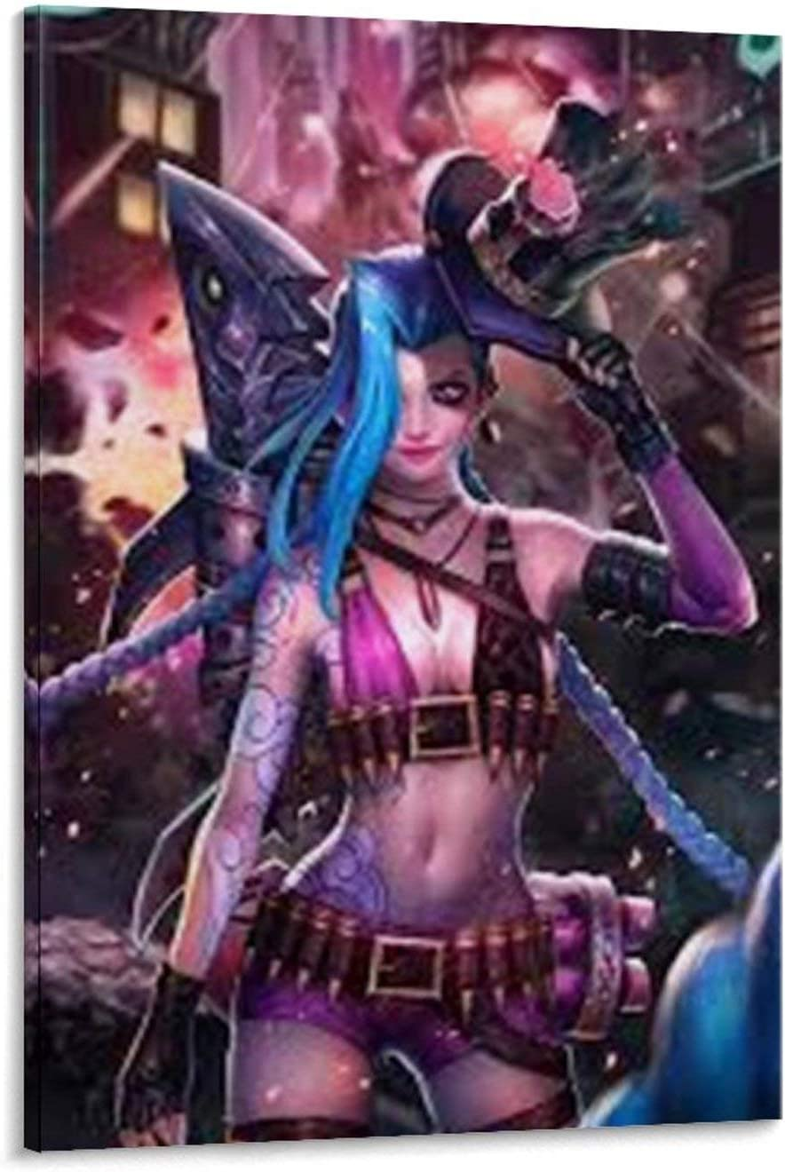 ZX74 Jinx League of Legends Poster Poster Wall Art for living room Print Artwork Wall Art Decor Poster painting bedroom bathroom Decorations Canvas Prints Picture Home Office wall Decor 12x18inch(30x4