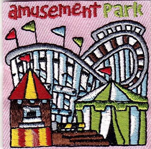 """""""AMUSEMENT PARK"""" Iron On Patch Rides Games Fun County State Fair"""