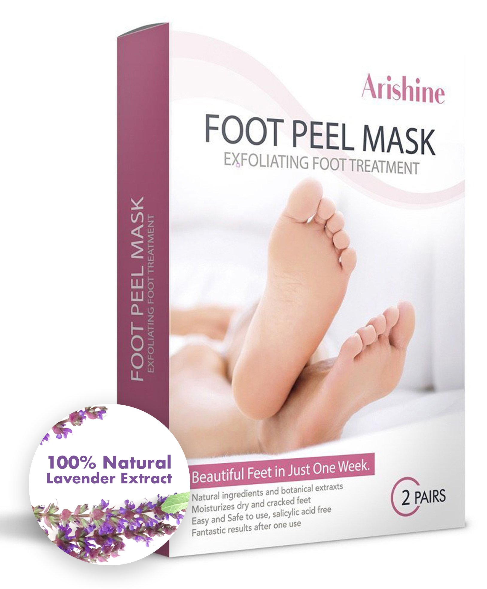 Foot Peel Mask, Exfoliating Peels Away Calluses and Dead Skin - Get Soft Baby Foot Naturally in 1-2 Weeks, Lavender (2 Pairs)