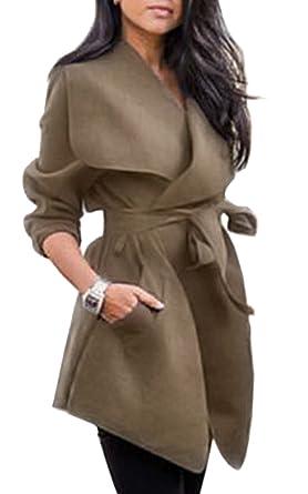 competitive price a70b5 1b89d ECOWISH Damen Mantel Strickjacke Wolljacke Revers Trenchcoat Parka Outwear  Mit Gürtel