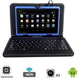 "Tagital 7"" Quad Core Android 4.4 KitKat Tablet PC, Dual Camera, Play Store Pre-installed, 2017 Newest Model Bundled with Keyboard (Blue)"