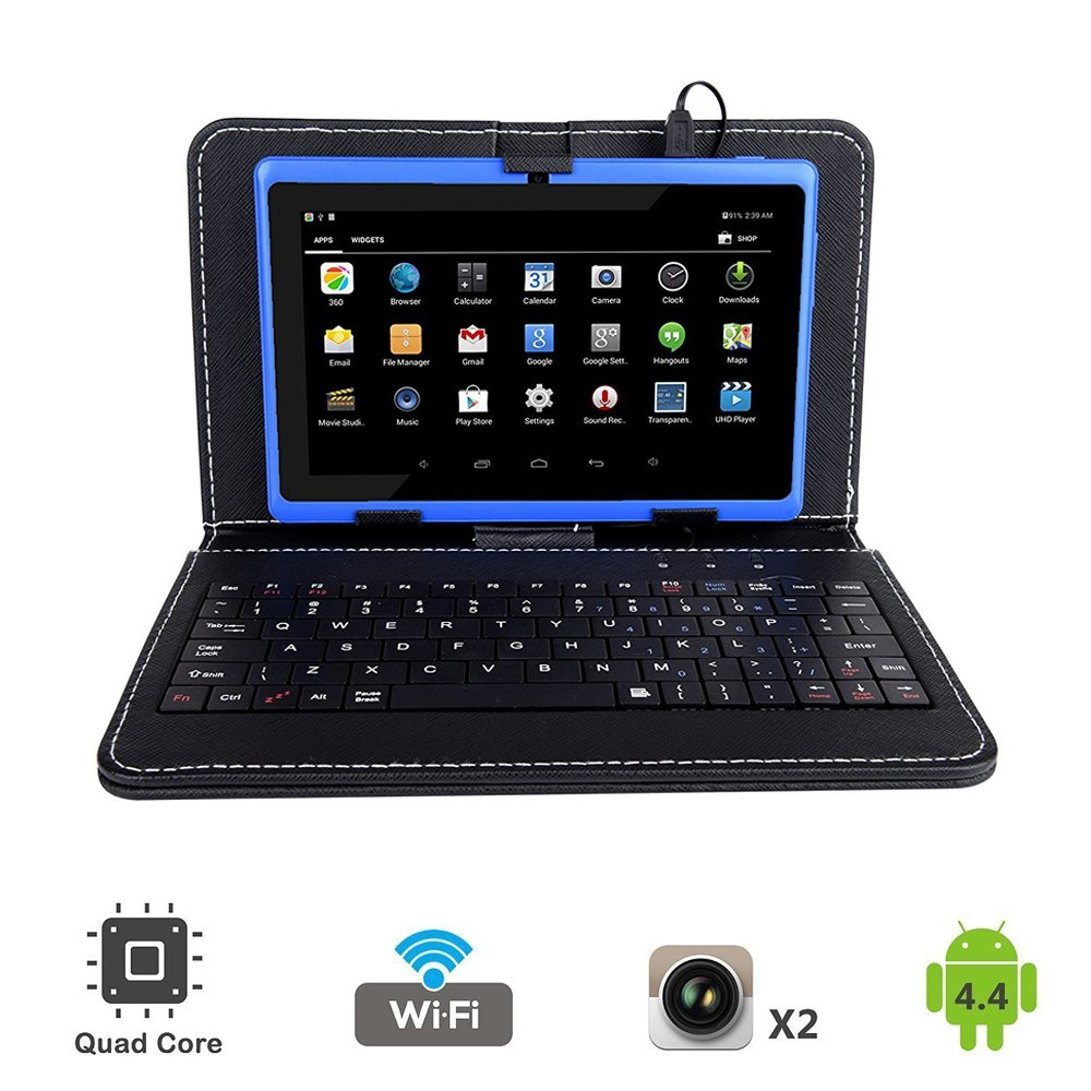 Tagital 7'' Quad Core Android 4.4 KitKat Tablet PC, Dual Camera, Play Store Pre-Installed, 2017 Newest Model Bundled with Keyboard (Blue)