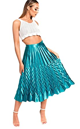 Ikrush Womens Gabbana Metallic Pleated Midi Skirt Green Amazon Co