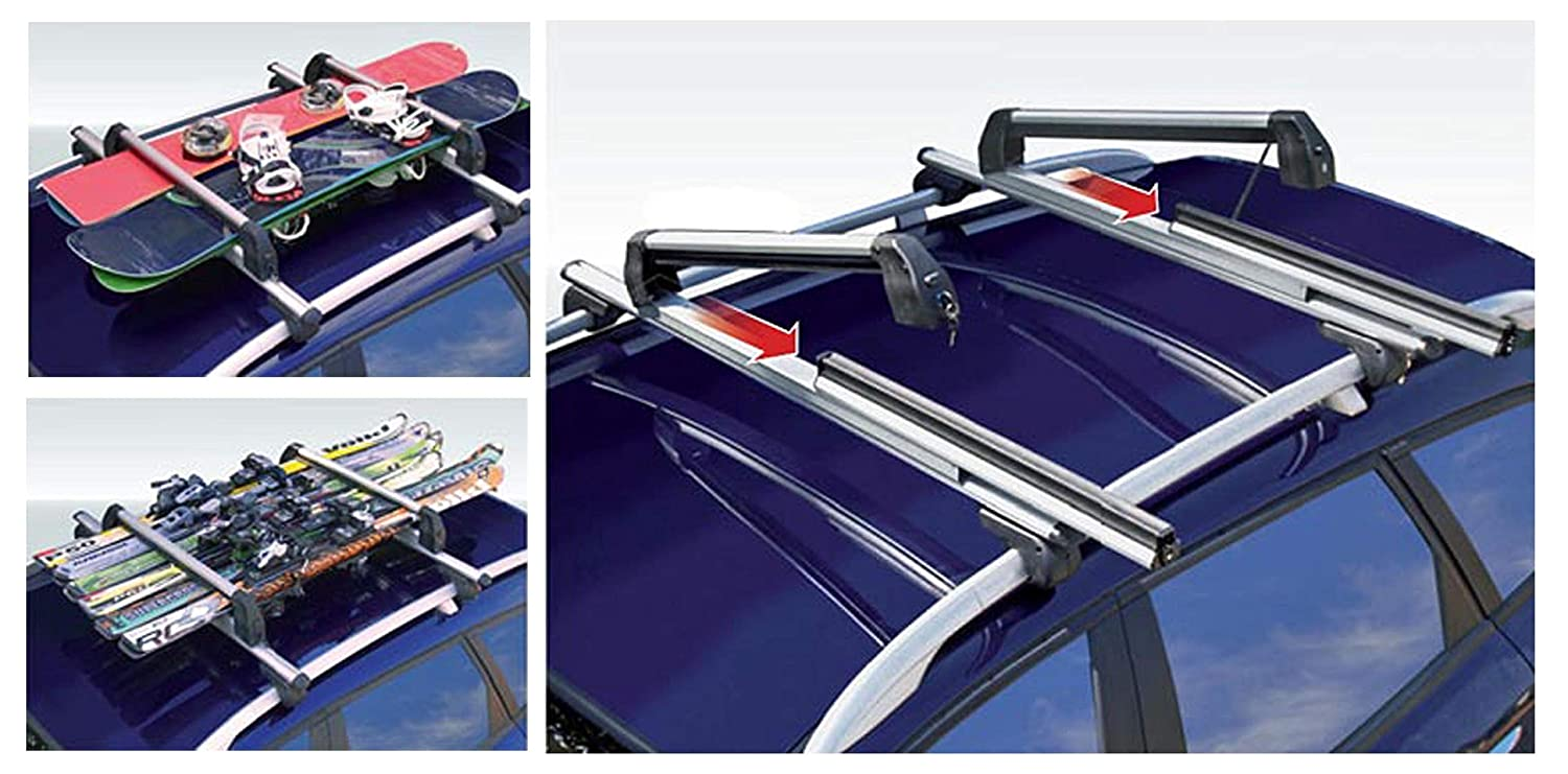 VDPLION1 Roof Rack Compatible with Chevrolet Lacetti Station Wagon 02-11 5 Door Silver Ice Ski Carrier Extendible