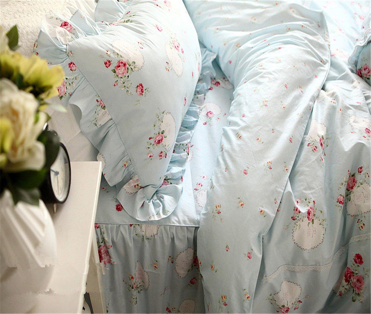 Lotus Karen 100%Cotton Blue Pastoral Flowers 4PC Floral Bed Sheet Set Ruffles Korean Bedding Set With Romantic Love Letters Patterns For Wedding Bedding King,1Duvet Cover,1Bedskirt,2Pillowcases by Lotus Karen (Image #1)