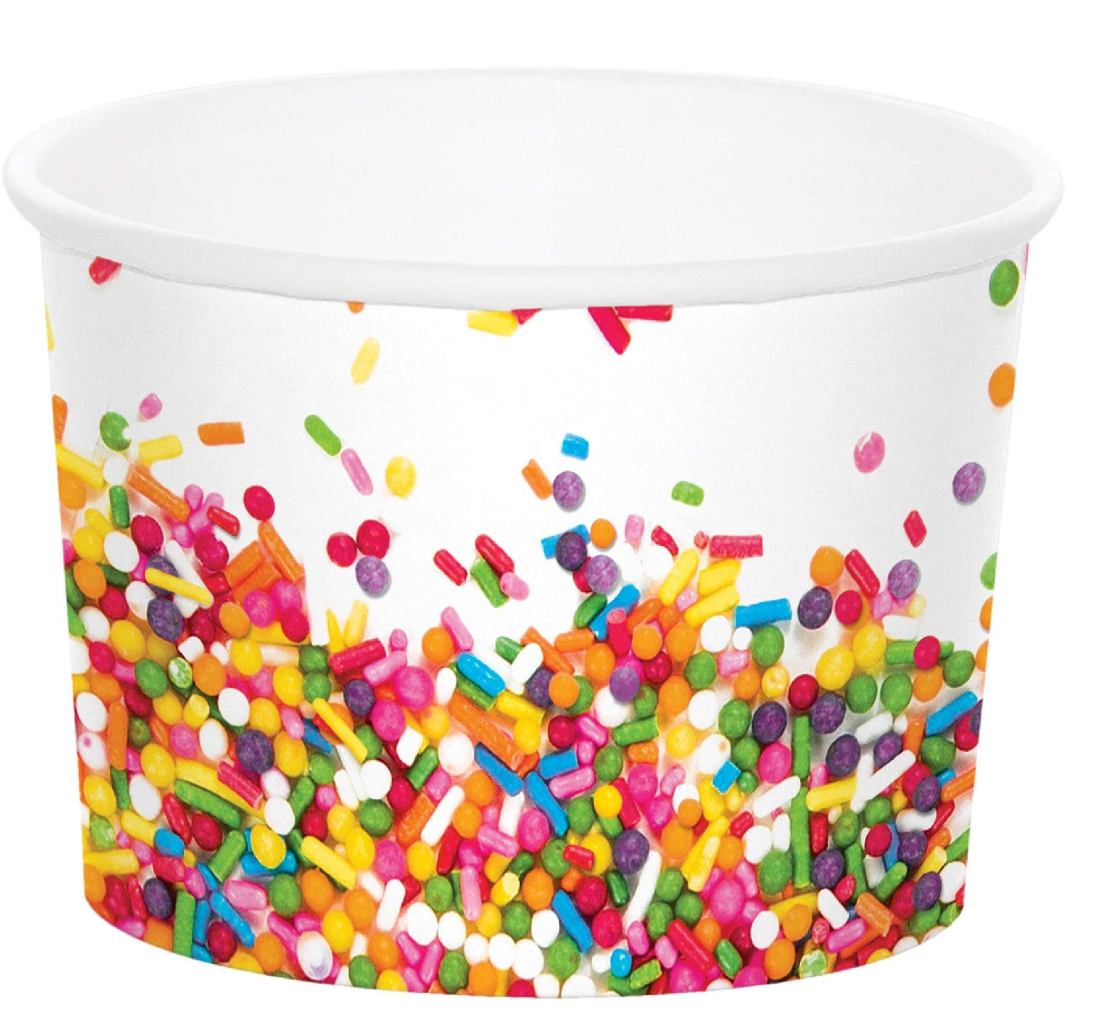 Party Central Club Pack of 72 White and Rainbow Sprinkles Disposable Treat Cups 3.5''