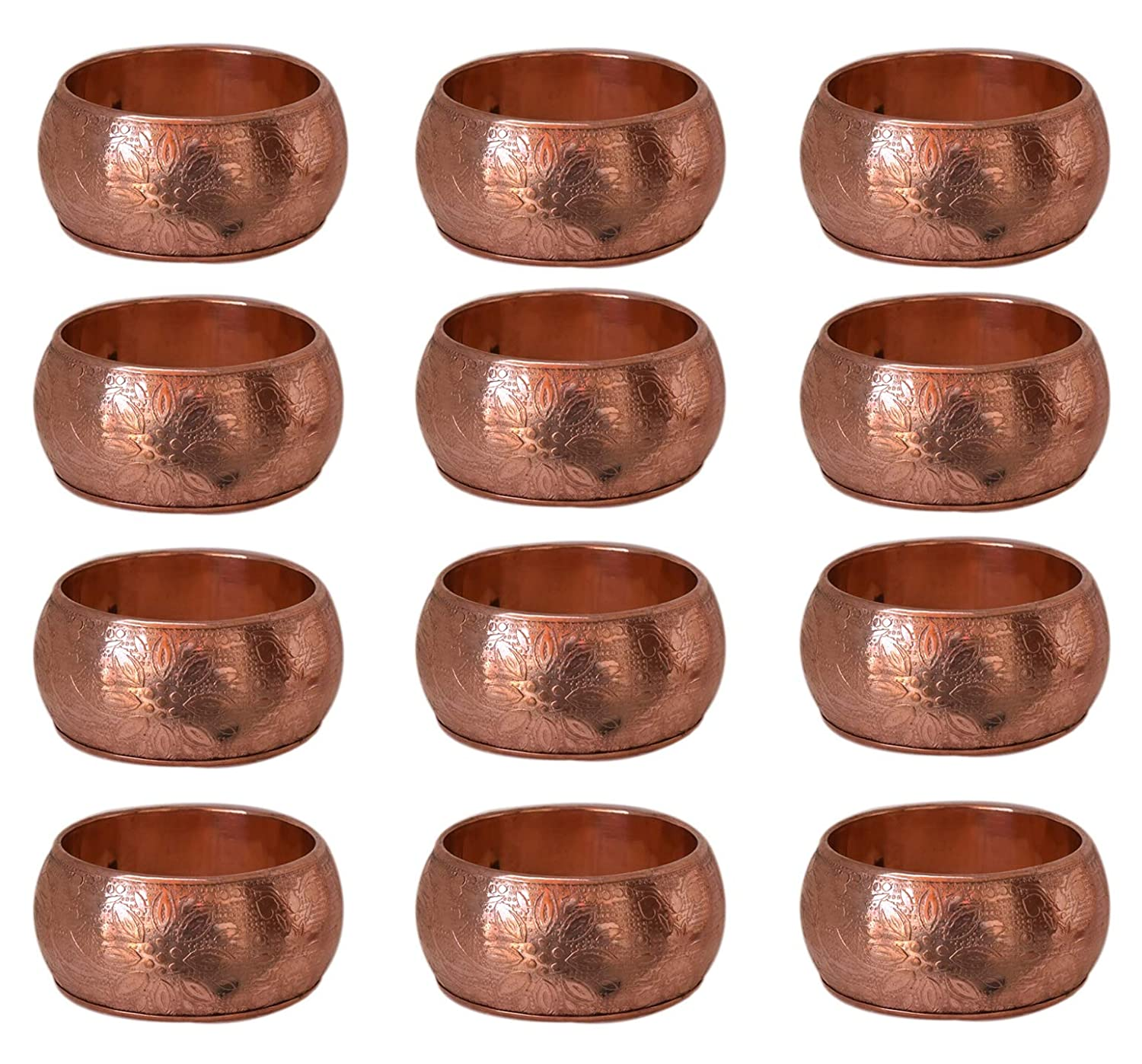Wedding Receptions Dinner or Holiday Parties Basic Everyday Floral Napkin Rings for Place Settings Family Gatherings Copper, Pack of 4