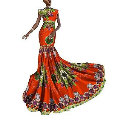 69117c43cb49d Amazon.com: African Women Dashiki Print Clothing Sleeveless Ankara Mermaid  Party Long X11434: Clothing