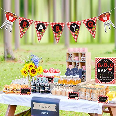 Bessmoso BabyQ Party Decorations Set BabyQ Banner Bar Sign Food Tent Cards Label for BBQ Theme Baby Shower Summer Barbecue Gender Reveal Picnic Party Red Gingham Supplies: Toys & Games